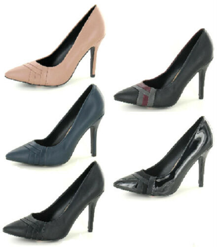 SALE LADIES SPOT ON STILETTO HEELED POINTED TOE COURT SHOES F9673
