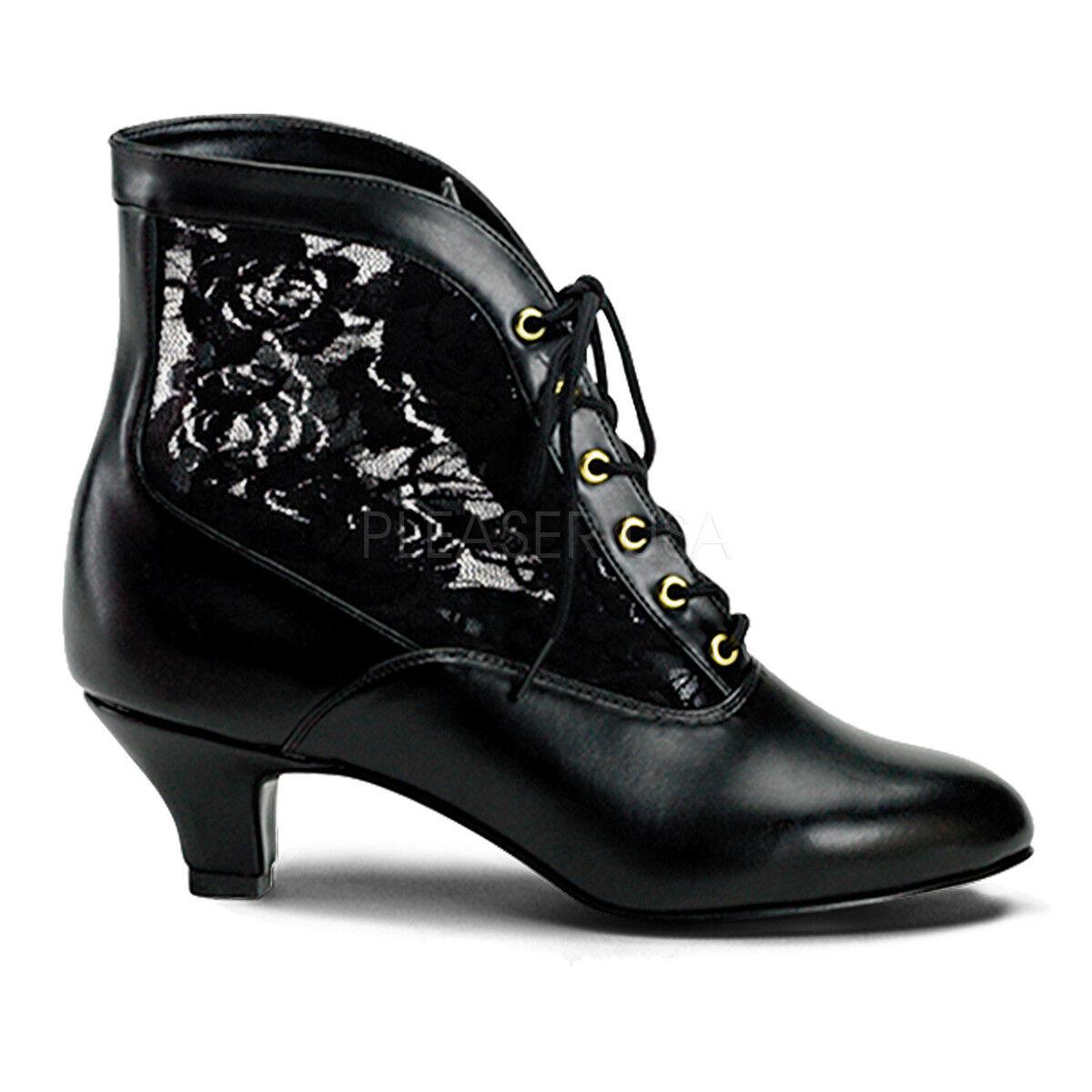 Pioneer Bruja Burlesque Victoriano Steampunk Steampunk Steampunk Traje de Novia de Encaje Negro botas al tobillo  el estilo clásico