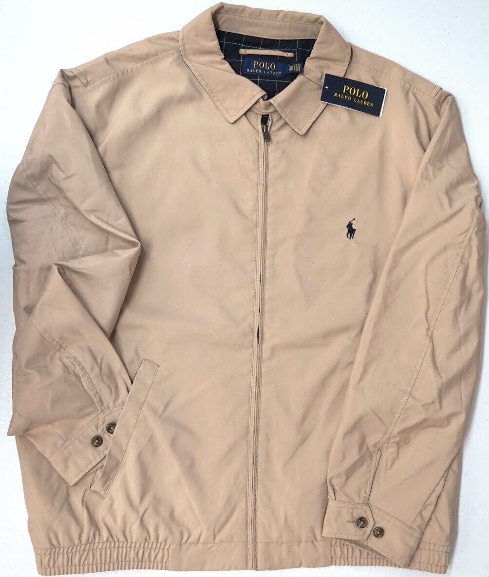 Men Polo Ralph Lauren Pony Windbreaker Bi Swing Rain Coat Jacket Big Tall Khaki