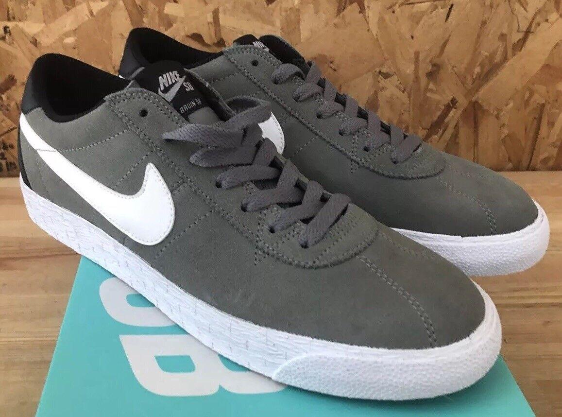 Nike SB Bruin Zoom PRM SE Tumbled Grey White Black Sz 9.5 NIB 877045-011
