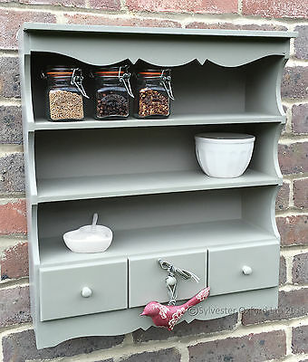 Pretty shabby / chic WALL DISPLAY UNIT. Shelving unit in French Grey / green