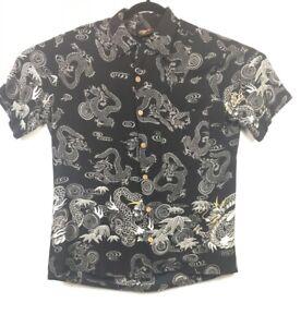 Red-Dragon-by-Kennington-Rayon-Hawaiian-Camp-Black-Dragons-Shirt-Mens-Medium