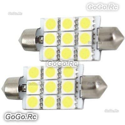 2 x White 41mm 9 LED 5050 SMD Festoon Dome Car Light Interior Bulb LE012-09WH41