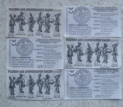 """Satz BPZ /""""Figuren aus chinesischen Sagen/"""" 1994 6x 639583"""