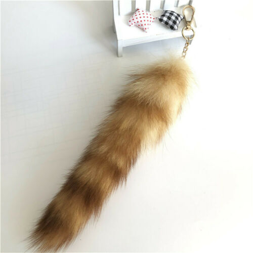 20-30CM 100/% Real Genuine Raccoon Fur Tail Car Phone Bag Accessories Cosplay Toy
