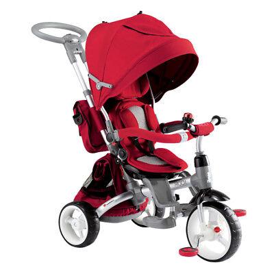 Triciclo Passeggino Con Seggiolino Reversibile 6 In 1 Modi New Rosso