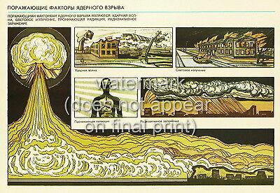"Soviet Russian Cold War Civil Defense Poster Print ""Nuclear Blast Shock Wave"""