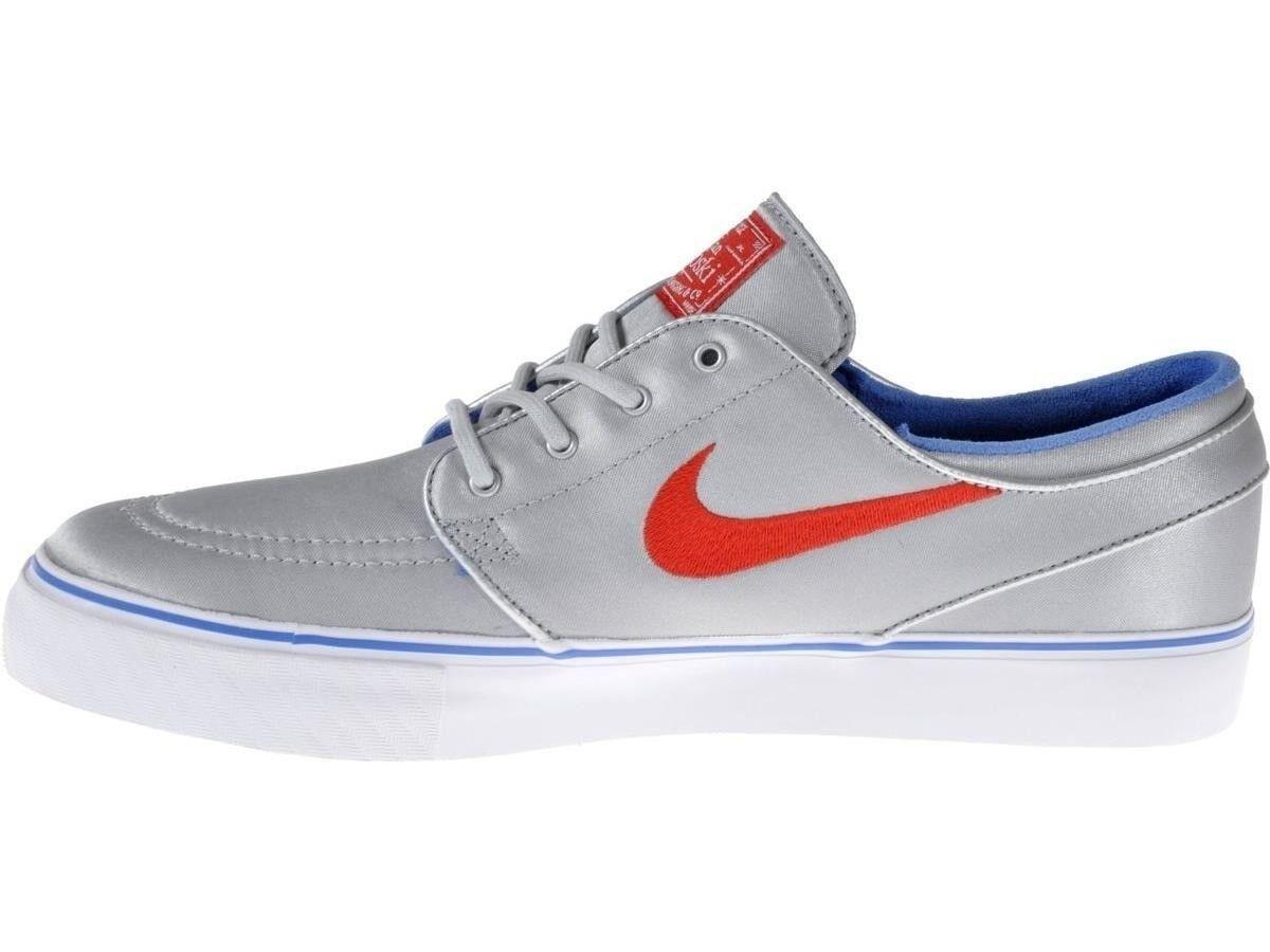 Nike ZOOM STEFAN JANOSKI PR Metallic Silver Red Bl 482972-064 (284) Uomo Shoes