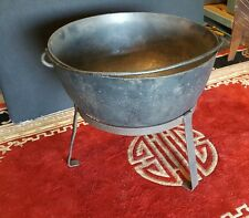 """Large Antique Cast Iron Kettle Pot Cauldron With Stand 25 1/2"""" Weighs 78 lbs"""