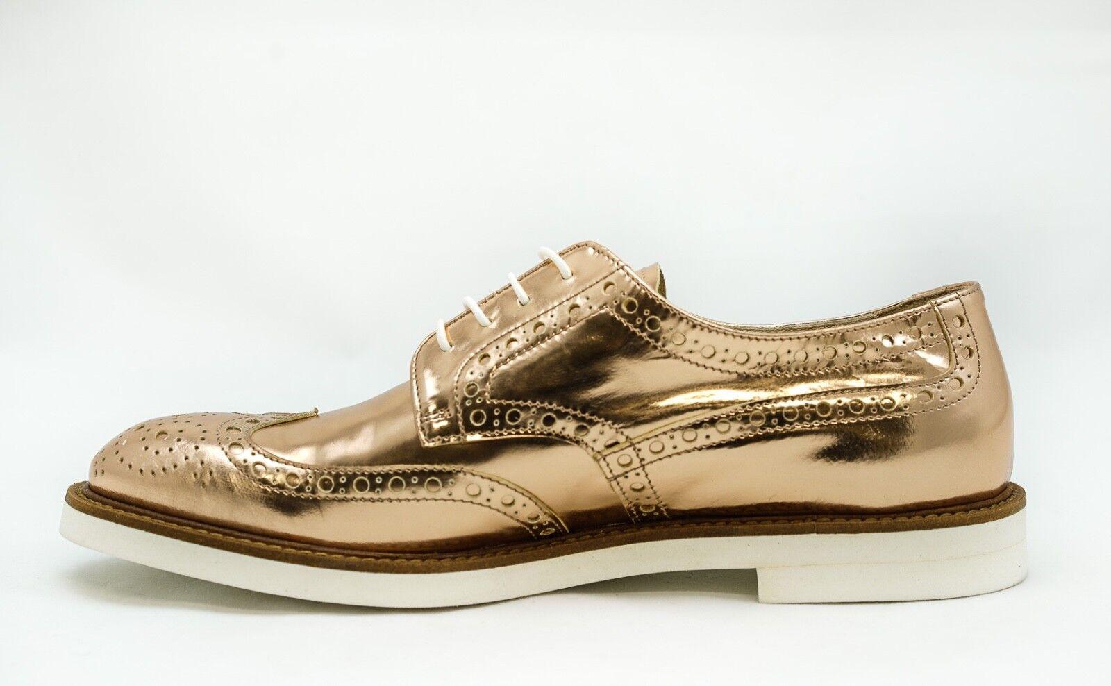 New in Box Box Box Roberto Serpentini Women's pink gold Leather Brogues 1703 e11448