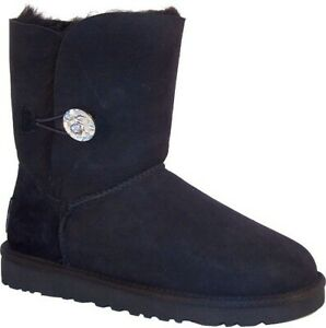 NEW-Women-039-s-UGG-Australia-034-Bailey-Bling-034-Blk-sheepskin-boot-w-Swarovski-Crystal