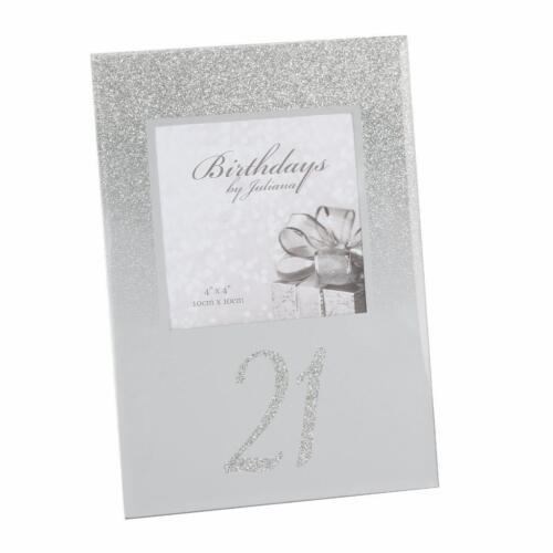 """21st Anniversaire Paillettes Et Miroir Cadre Photo 4/"""" X 4/"""" Coffret Cadeau FG59621"""