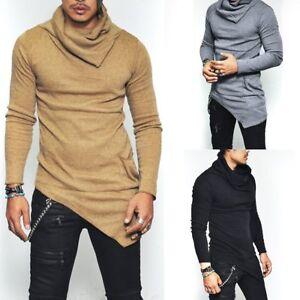 Fashion-Men-039-s-Slim-Fit-Irregular-Long-Sleeve-Muscle-Tee-T-shirt-Tops-Blouse