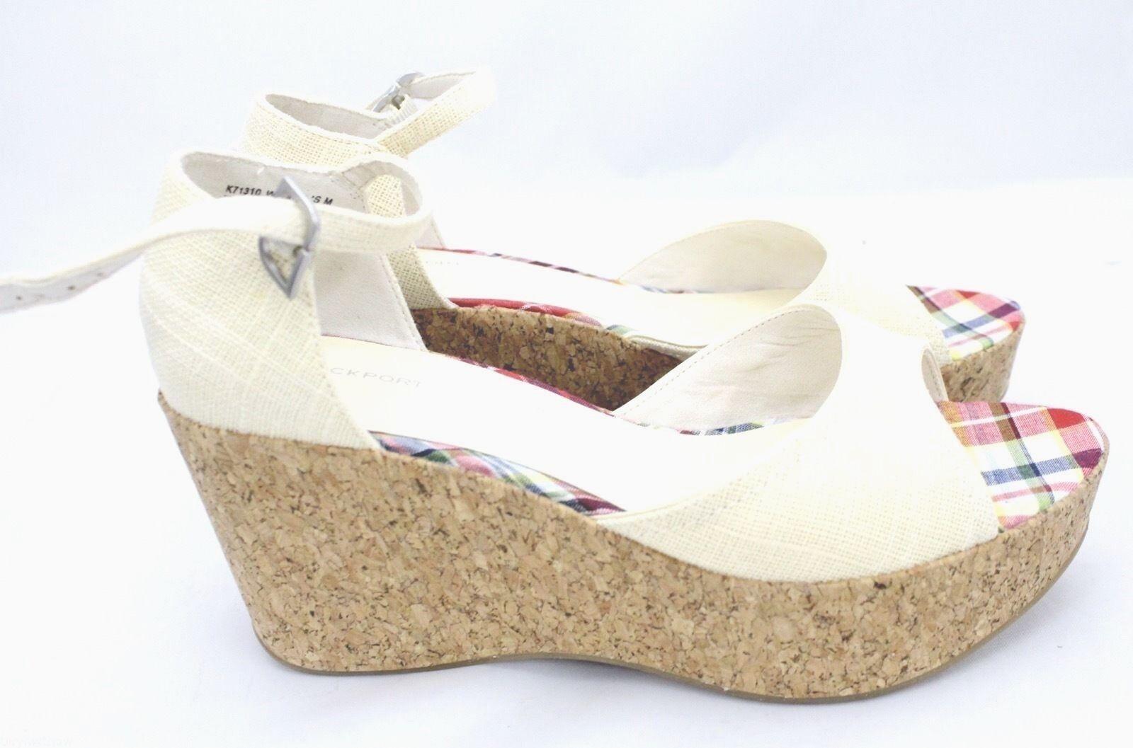 Rockport Wedge Cork Platform Sandals Ivory Linen Open Toe  Womens 9 B EUC