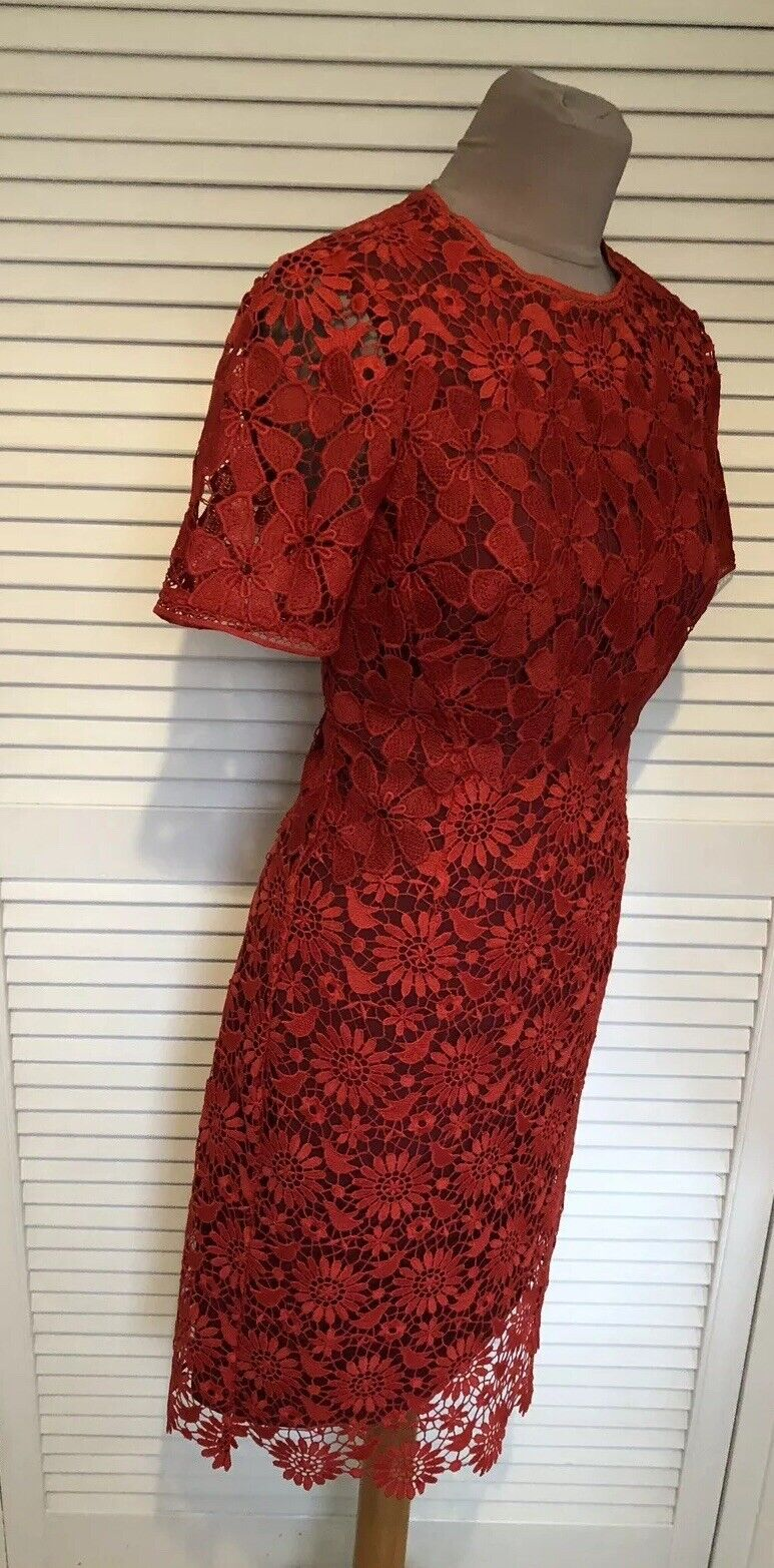 KAREN MILLEN RED FRENCH CUTWORK LACE DRESS WITH WINE LINING NEW TAG
