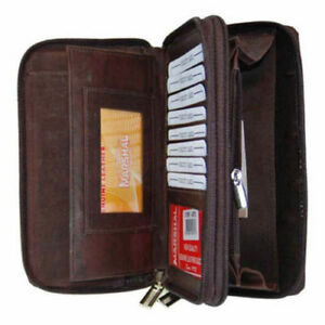 RFID-Blocking-Leather-Checkbook-Women-039-s-Clutch-Wallet-Secretary-Organizer