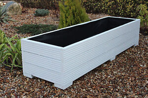 Image Is Loading White 150x44x33 Cm Large Wide Wooden Garden Planter