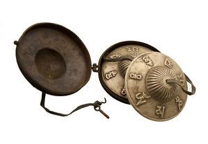 Piatti Tibetano Con Custodia Rame Simboli Amore Modello Antico 8844 X5B