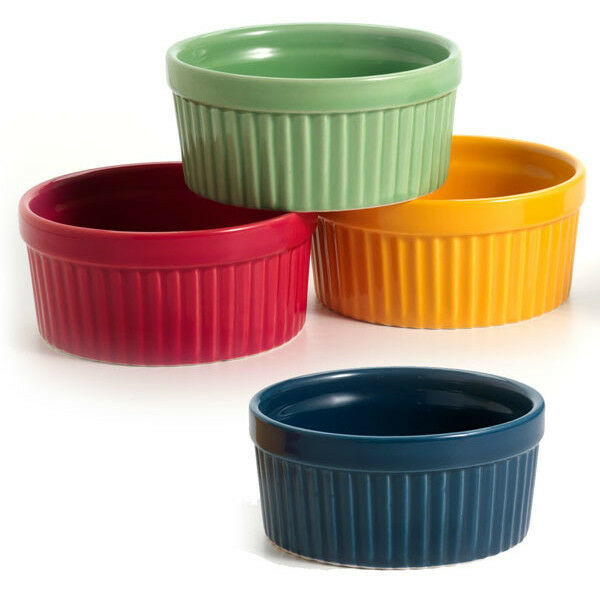 Norpro 4 oz Colored Ramekin Porcelain Stoneware Red Green Yellow Blue