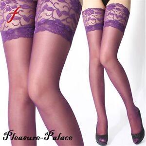 3e03570b1cad8 Men's DARK PURPLE Lace Top Thigh High Stockings ~ Sexy Plum | eBay