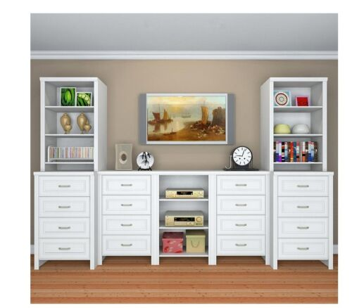 25 in White Deluxe Hutch Closet Kit Storage Space in Walk-in Closets Classic