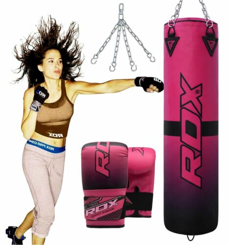 RDX Ladies 4 Feet Heavy Punching Bag Training Boxing Gloves Mount Chain Pink