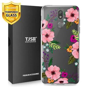 For-LG-Stylo-5-5V-5-Plus-Phone-Case-TJS-Juno-Pink-Flower-Tempered-Glass