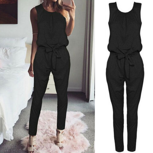 Womens Casual Off The Shoulder Jumpsuit Playsuit Overalls Pants Sports Trousers