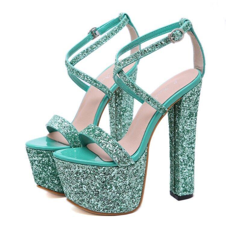 Chaussures Femme Glitter Paillettes Bout Ouvert Bride À Boucle À Talons Hauts 17.5 cm Plateforme Escarpins Taille