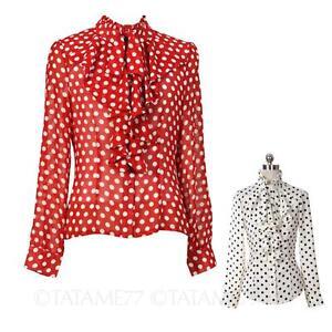 Rockabilly-Shirt-Ladies-Polka-Dot-Womens-blouse-NEW-long-sleeve-Top-Size-VANCY