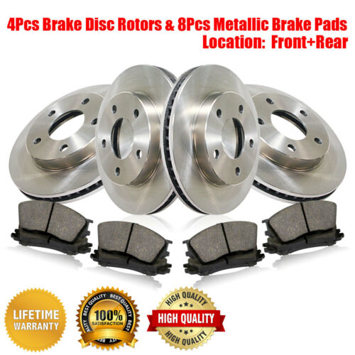 Rear Brake Rotors /& Metallic Pads Fits Land Rover Range Rover 1993 Front