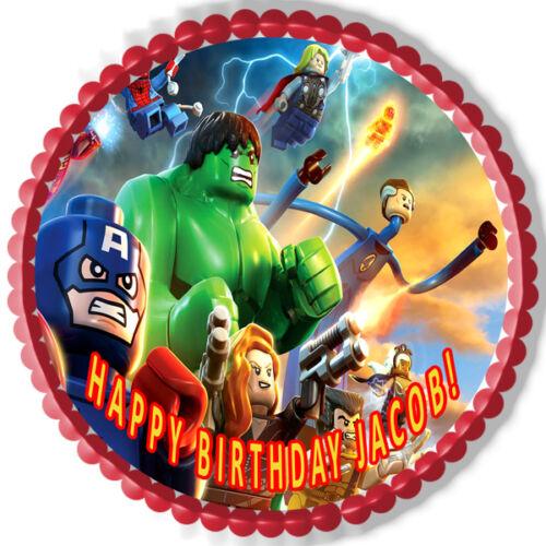 Lego Marvel Superheroes Decor Edible Cake Topper OR Cupcake Topper