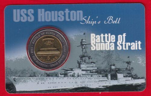 "Australia 5 dollars 2002 km#601 /""Battle of Sunda Strait/"" BiMetallic UNC"