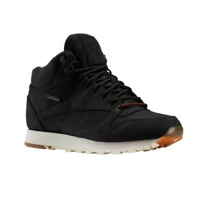 Reebok-Classic-Leather-Mid-Gtx-Thin-BLACK-PAPERWHITE-GUM-Men-039-s-Shoes-BS7883