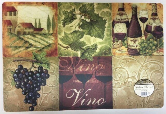Ordinaire SET Of 4 Kitchen Vinyl / Foam Back Placemats, Wine U0026 Grapes