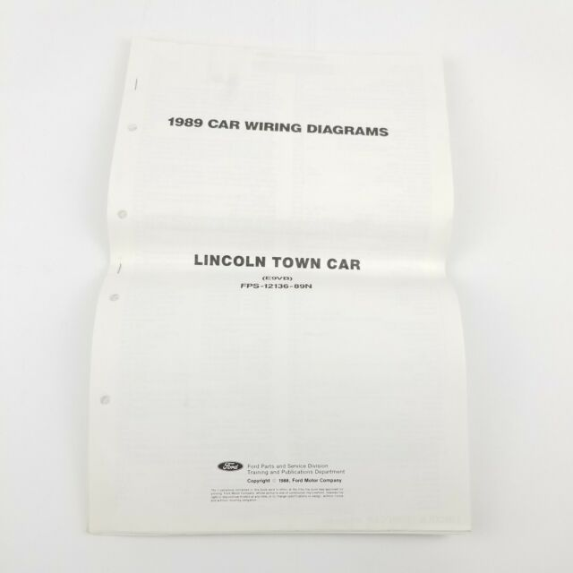 1989 Lincoln Town Car Wiring Diagrams Manual Set