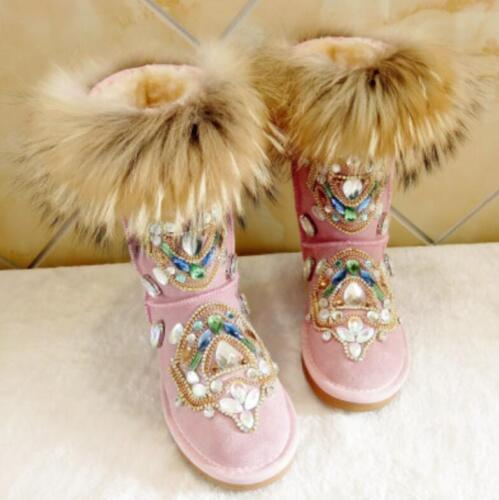 Winter Women/'s Warm Snow Boots Real Leather Fox Fur rhinestone Shoes Shoes Lady