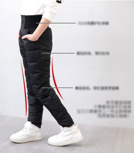 Winter Kids Child boys Girls Warm thick Pants Stretch Cotton Down Trousers 3-12Y
