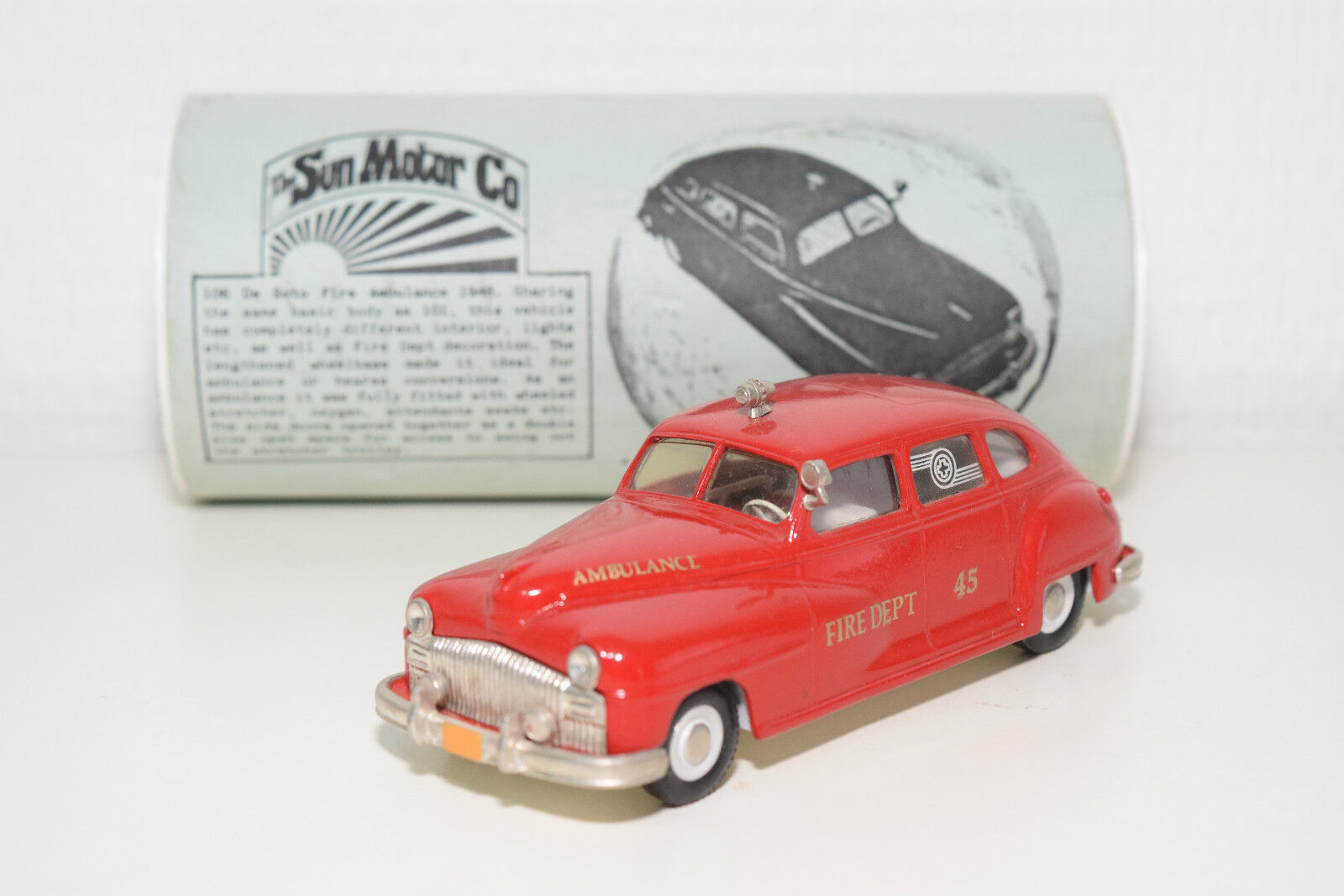 SUN MOTOR CO DE SOTO DESOTO FIRE AMBULANCE 1948 MINT BOXED