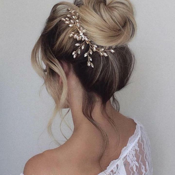 Bridal Hair Accessory Wedding Headpiece Crystal Vine Head Wrap Gold Wire Prom