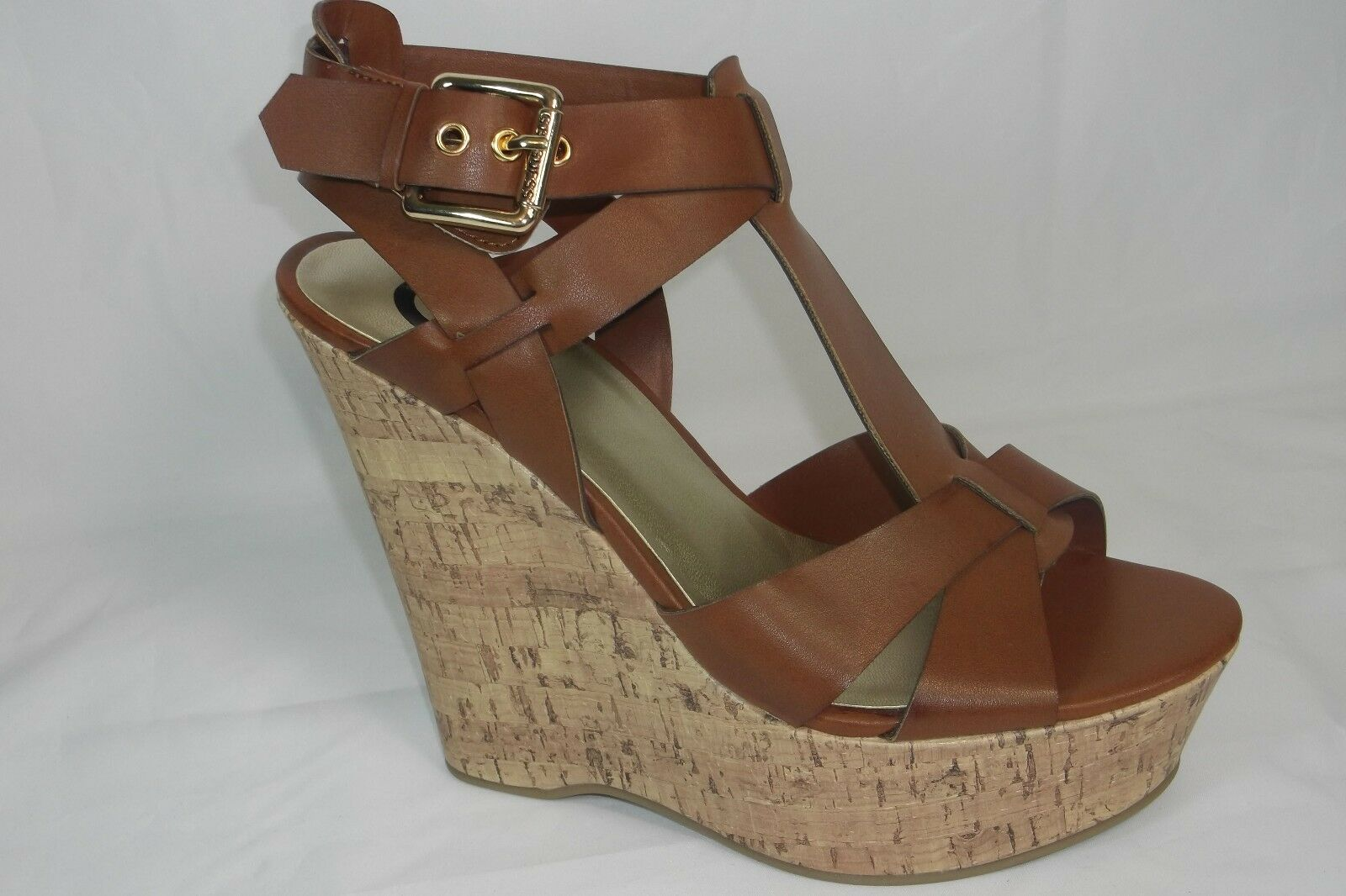 GUESS G BY GUESS GG ENTRY BROWN WEDGE STRAPPY SANDALS 9.5M NEW NEW IN BOX