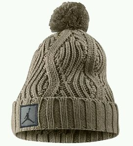 Nike Air Jordan Jumpman Cable Pom Beanie Hat 801768-235 Beige Retro ... 5b4ea3223a7