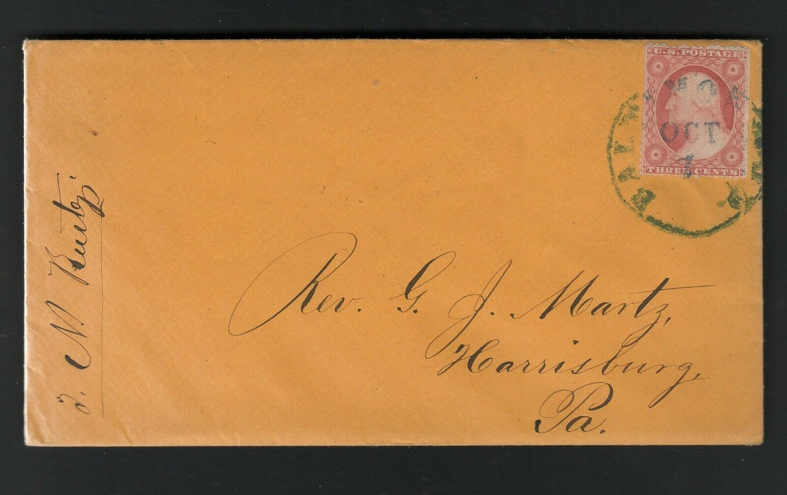 (599) on orange paper cover, 1859, letter enclosed, Free Shipping