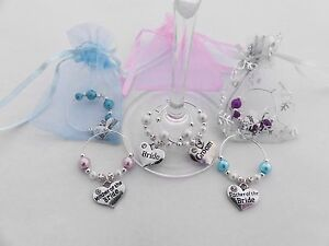 Wedding Wine Glass Charms. Top Table Decorations. Bride, Groom ...