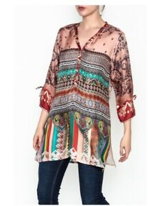 JOHNNY-WAS-Tunic-CAVALAN-A-BLOUSE-Floral-Scarf-Printed-Silk-V-Neck-S-248