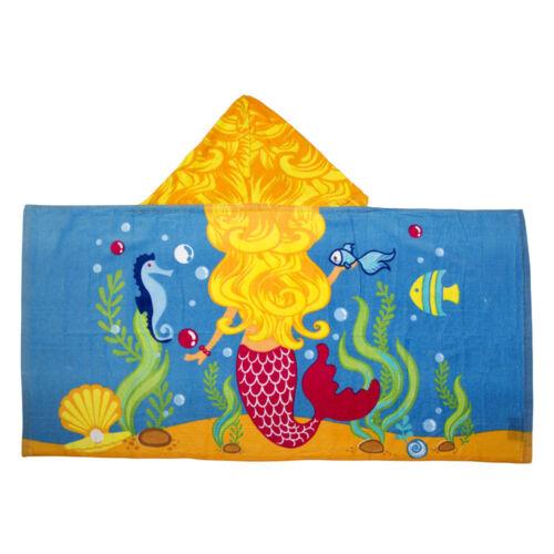 Kids Toddler Girls Princess Lil Mermaid Hooded Poncho Towel Pool Beach Bath NEW