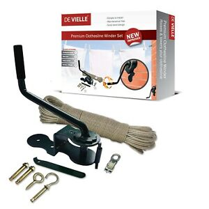 De-Vielle-Clothesline-Winder-30m-Steel-Rope-Lower-Raise-Pulley-Washing-Line