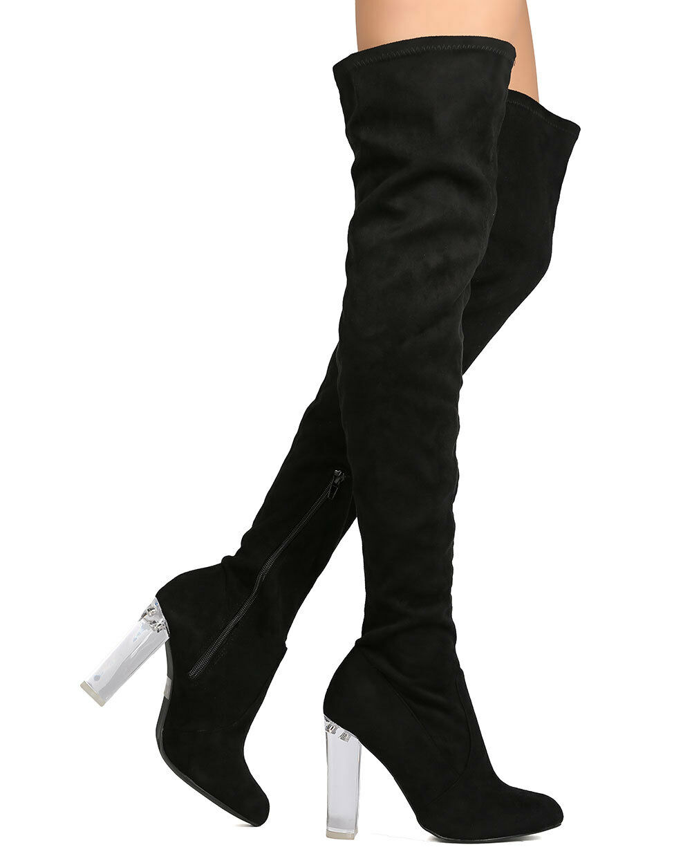 New Women Wild Diva Blossom-23 Faux Suede Thigh High Lucite Block Heel Boot