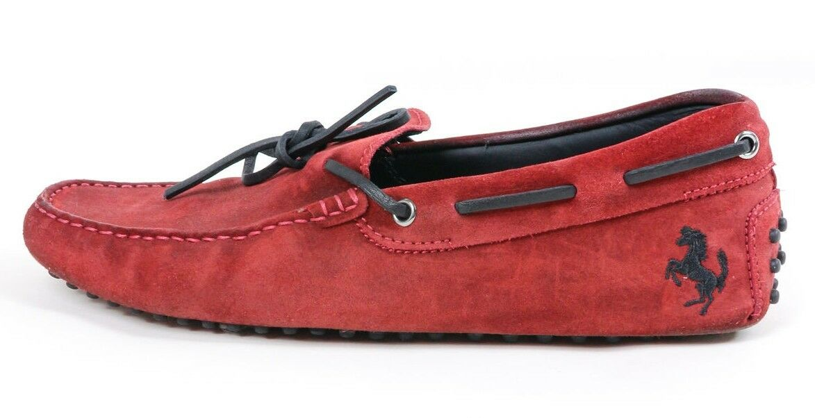 US TOD'S MEN'S FERRARI GOMMINO SUEDE DRIVING LOAFER SHOES IN RED UK7.5