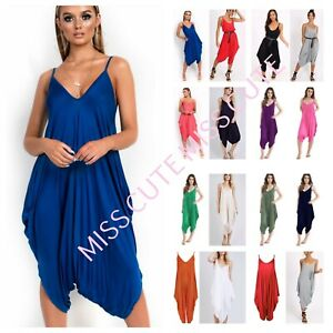 c990140a6960 WOMENS LADIES V NECK ALL IN ONE SUMMER CAMI HAREM JUMPSUIT ROMPER ...